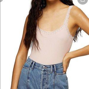 Topshop pink ribbed knit lace trim bodysuit Size 4